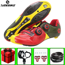 Sidebike Road Cycling Shoes Sapatilha Ciclismo add pedal set Carbon fiber men sneakers Self-Locking Bicycle Bike Shoes Sneakers sidebike cycling shoes road men carbon sapatilha ciclismo mtb bike shoes zapatos bicicleta sneakers self locking white 2019 new