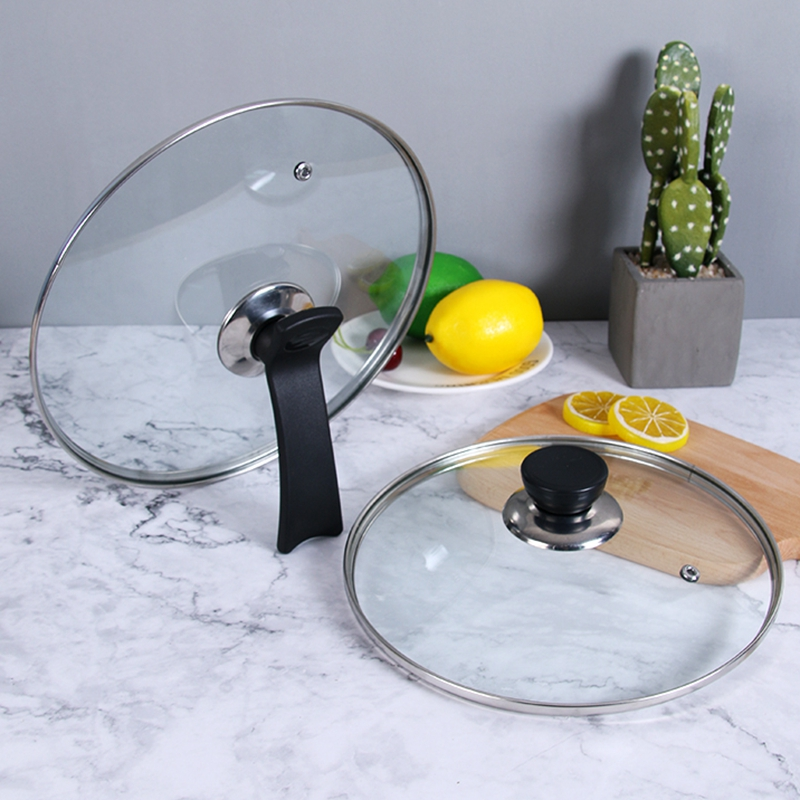 Cookware Parts Pot Cover Tempered Glass Lid Wok Frying Pan Cover Pyrex Glass Round Chef Pan Lid With Knob Cooker Cover 14 30cm in Other Cookware Parts from Home Garden