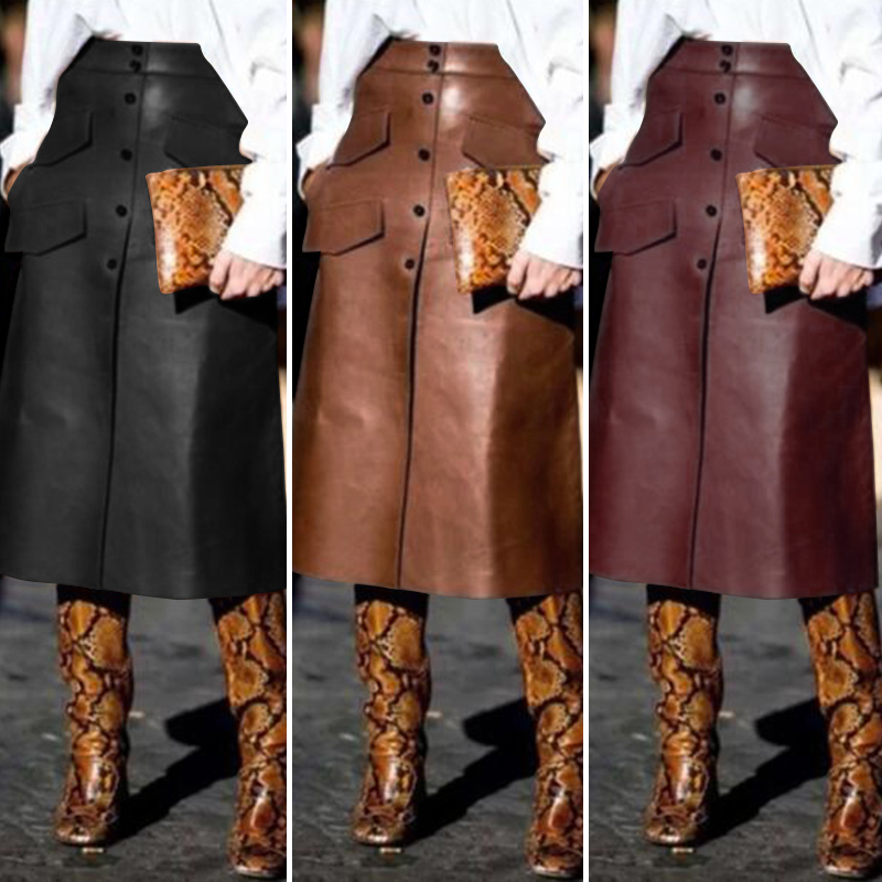 Stylish PU Leather Skirts Women's Button Vestidos ZANZEA 2020 High Waist Split Pockets Midi Skirts Female Solid Robe Plus Size