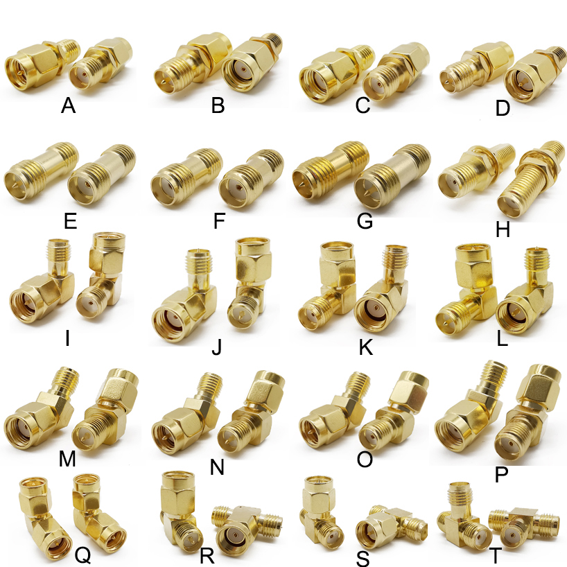 2 Pcs Plug Jack SMA Connector RP SMA Socket Adapter Gold-plated RF Coaxial Connectors SMA Female Male Terminal