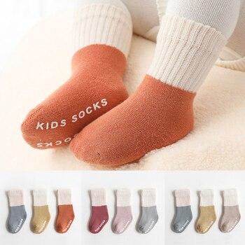 3pairs/lot Winter Terry velvet thicken floor socks boy girls anti slip antiskid Baby warm socks for kids toddler Newborn infants
