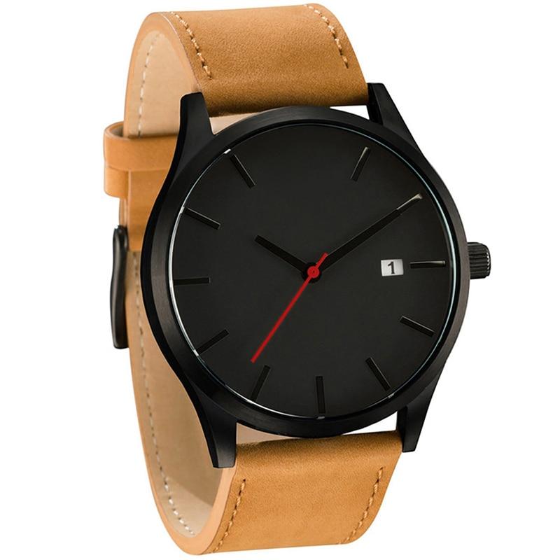 Man Watch 2018 Fashion Men Quartz Watch Brown Leather Military Army Sport Watch No Logo Watch Relogio Masculino reloj hombre