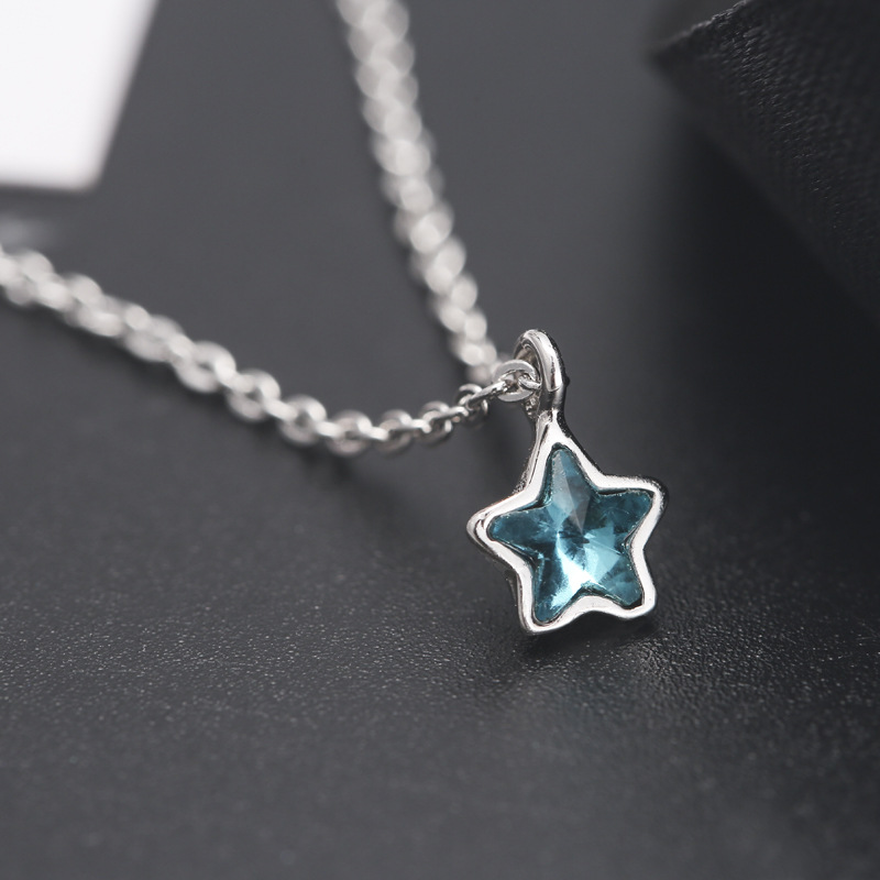 Hot 925 Sterling Silver Small Fresh Blue Star Necklace Mini Fashion Trend Cute Five-pointed Star Pendant Jewelry Blue Crystal