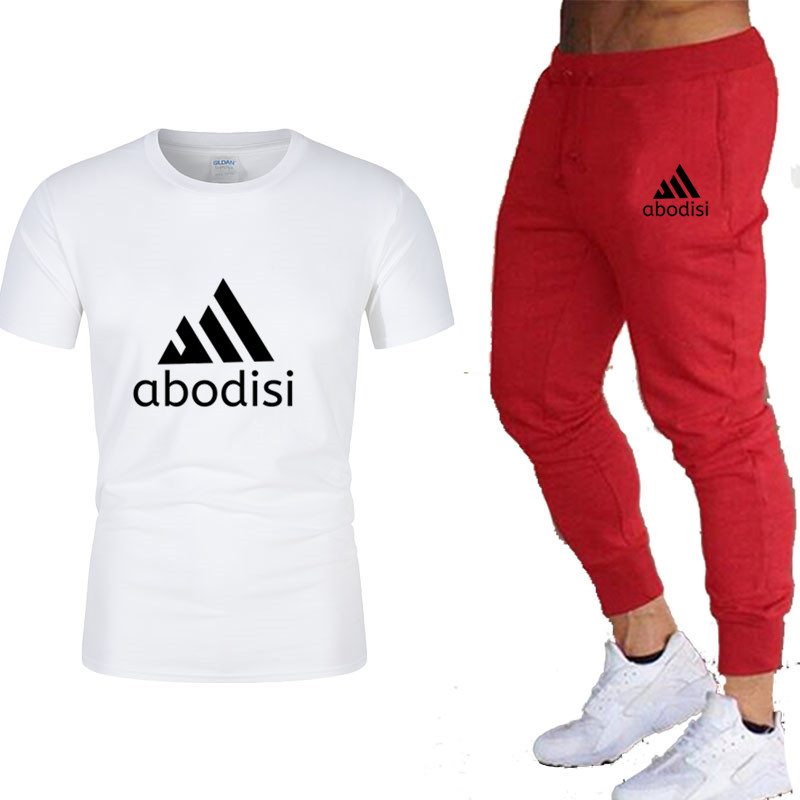 2019 Brand T Shirt Men Sets Fashion Summer Cotton Short Sleeve Sporting Suit T-shirt+Trousers Mens 2 Pieces Sets Casual Clothing