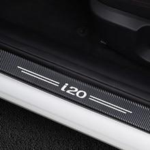 Autocollants de Protection de plaque de porte de voiture, 4 pièces, Protection contre les éraflures, décoration de marchepied de porte, accessoires de Protection de seuil de porte en Fiber de carbone pour Hyundai i20