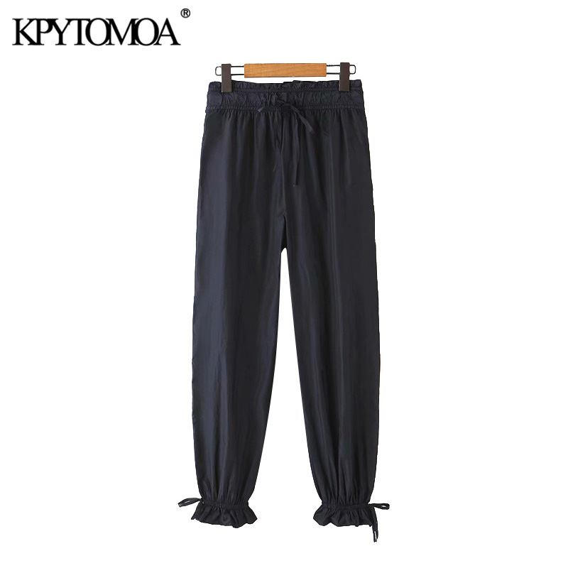 KPYTOMOA Women 2020 Chic Fashion Pleated Pants Vintage High Elastic Waist Drawstring Female Ankle Trousers Pantalones Mujer
