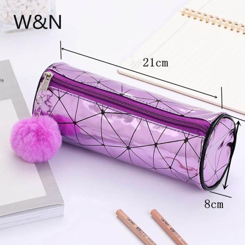Купить с кэшбэком Iridescent Laser Holographic Pencil Case for Girls Boy School Pencil Box Hairball Cylinder Pencil Bag School Supplies Stationery