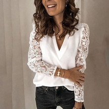 Women V-neck Lace Hollow Out Blouse 2020 Summer Casual Female Plus Size Tops Patchwork Long Sleeve White Office Ladies Blouses tanie tanio Womail Poliester CN (pochodzenie) Wiosna jesień REGULAR Koronki Pełna Na co dzień Suknem Women Blouse 2020 Summer Casual Solid Female Tops