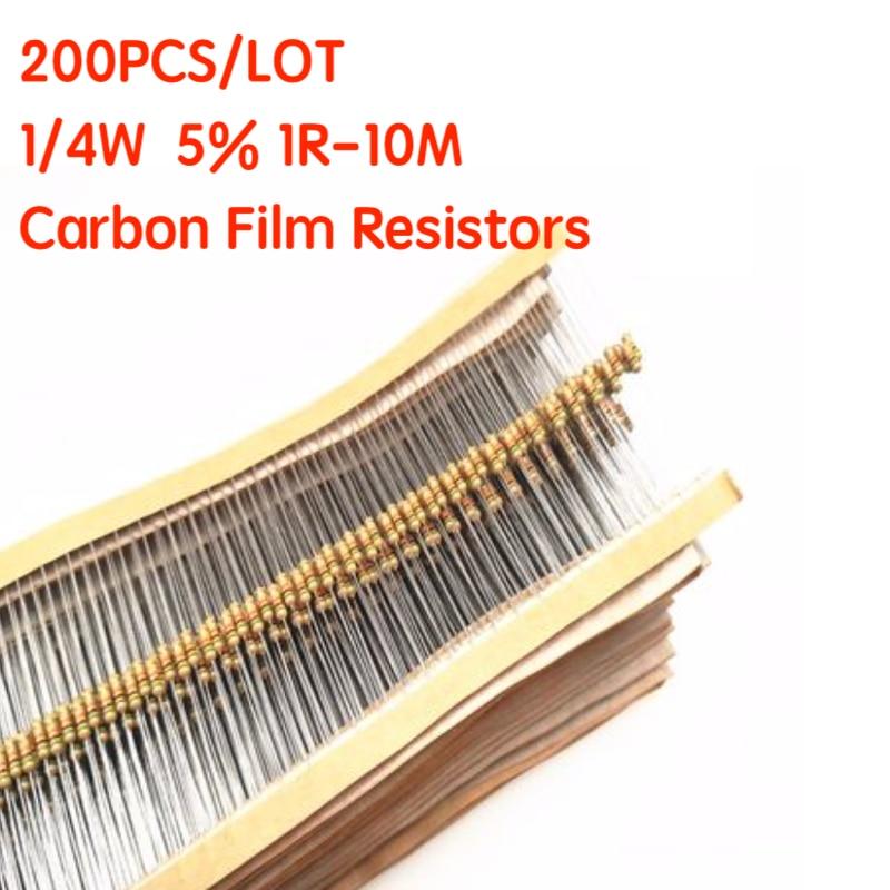 200 Uds 1/4W resistores de película de carbono 5% 1R-10M 10R 47R 56R 100R 220R 1K 4K7 6K8 100K 330K 560K 1M ohm anillo de Color resistencia