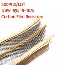 200 шт. 1/4 Вт карбоновые пленочные резисторы 5% 1R-10M 10R 47R 56R 100R 220R 1K 4K7 6K8 100K 330K 560K 1M Ом Сопротивление цветного кольца
