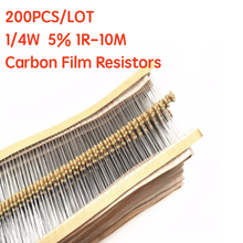 200PCS 1/4W Filme De Carbono Resistores 5% 1R-10M 10R 47R 56R 100R 220R 1K 4K7 6K8 100K 330K 560K 1M ohm Resistência Anel Cor