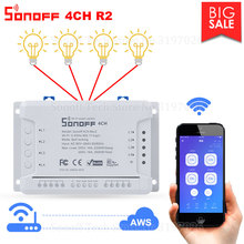 Itead Sonoff 4CH R2 Smart Wifi Switch 4 Gang Smart Home Remote Control Light Switch Works with Alexa Google Home eWeLink APP