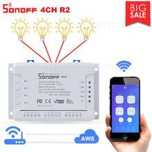 Interruptor inteligente itead sonoff 4ch r2, interruptor de luz 4 gang para casa inteligente e remoto com controle de luz, funciona com alexa e google home ewelink aplicativo