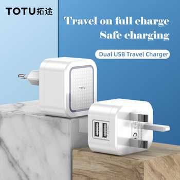 Adaptador de cargador USB Dual TOTU EU/UK para Apple iPhone X XS MAX 2.4A, cargador para Samsung Huawei, adaptador de viaje de pared para teléfono móvil