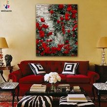Diy цветные картины по номерам с цветами Розовая Цветочная стена