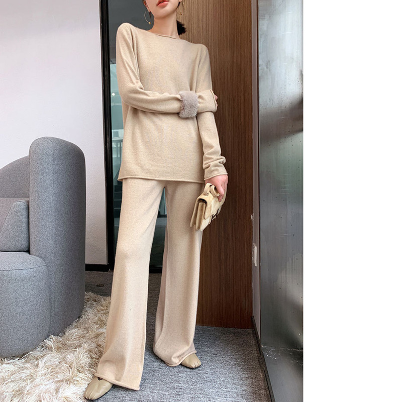 TVVOVVIN Fashion Lazy Style Autumn Festival Suit 2019 Solid Color Twinset Temperament Leisure Knitting Suit Woman ZX095