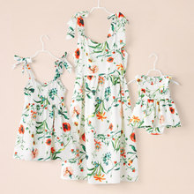 Summer Family Dress Mother and Daughter Matching Girl Daughter Outfits Dresses Mom and Daughter Matching Clothes Cotton Dresses summer baby mom family matching clothes casual mother daughter dresses fashion family matching outfits high quality dress page 5