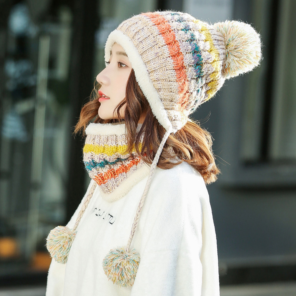Women Winter Beanies Velvet Thick Bib Mask Ear Protector Beanie Hat Riding Hat Female Warm Knitted Fashion Caps