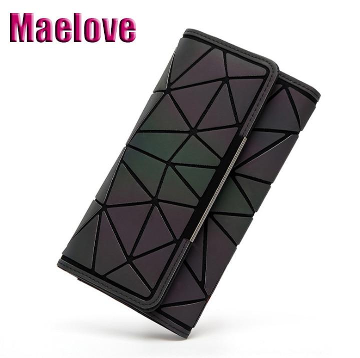 Maelove Geometry Wallet New Fashion Handbag Noctilucent Female Hologram Clutch Purse Matt Color/luminous Wallet Free Shipping