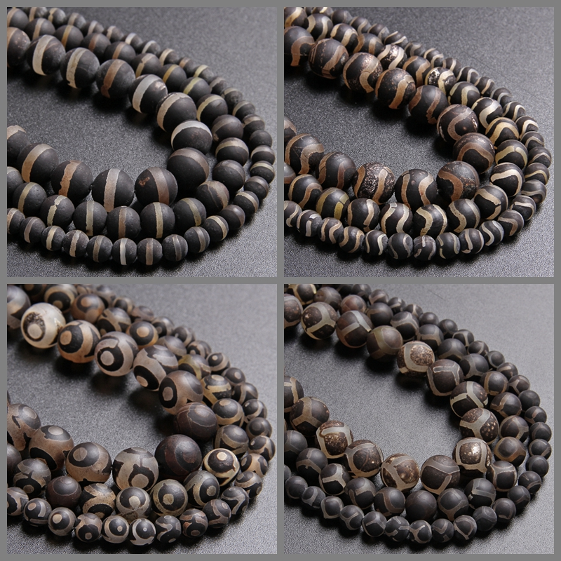 """Multi Color Patterns Tibetan Buddhist Natural Agate Beads 6mm 8mm 10mm 12mm 15/"""""""