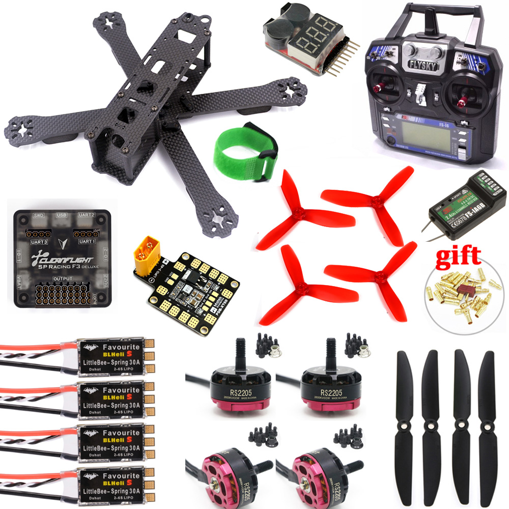 QAV-R 220mm Carbon Fiber Racing Drone Quadcopter QAV-R 220 SP3 Flight Controller RS2205 2300KV Motor LittleBee 30A-S ESC & FS-I6