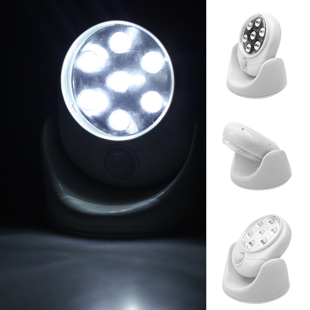 New Rotary Induction Lamp Human Induction Led Lamp 360° Battery Power Motion Sensor Security Led Light Garden Outdoor Indoor