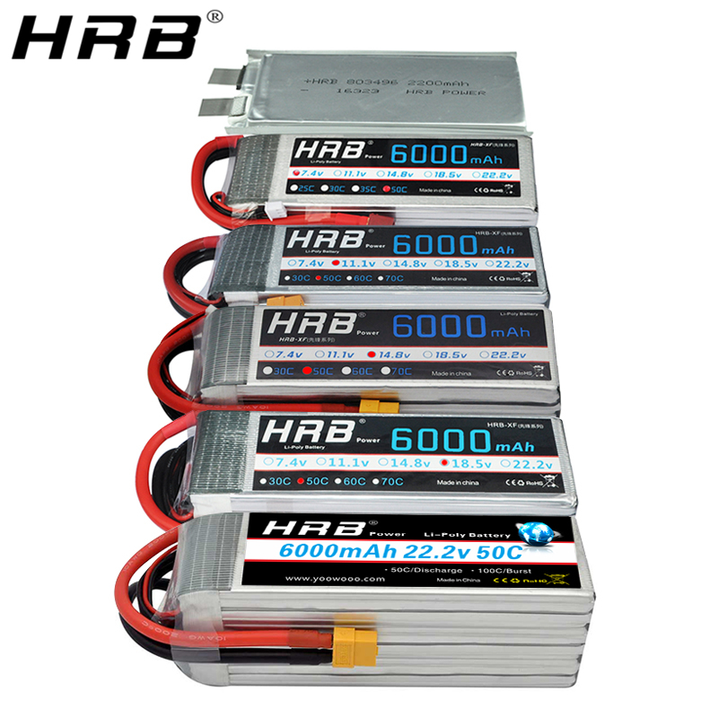 HRB <font><b>6000mah</b></font> <font><b>Lipo</b></font> Battery 50C 3S 2S 7.4V 11.1V 14.8V Deans T XT60 4S <font><b>5S</b></font> 6S 3.7V 18.5V 22.2V 1S RC Helicopter Airplanes Car Parts image