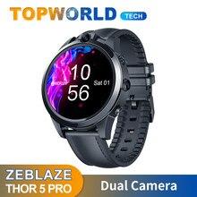 Flagship zeblaze thor 5 pro smartwatch 4g lte 3gb + 32gb câmera dupla face desbloquear moldura cerâmica quad core esporte relógio inteligente