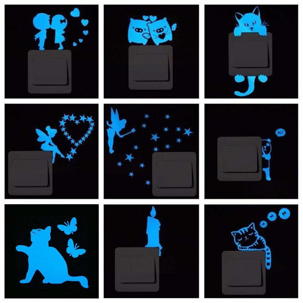 Blue-light Luminous Switch Sticker Cartoon Glowing Wall Sticker Home Room Decor Cat Dog Moon Whale Gecko Pig Car Kiss Sticker