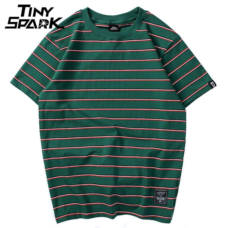 Harajuku Stripe T Shirt 2018 Men Casual T-Shirt Short Sleeve Summer Hip Hop Tshirt Streetwear Casual Tops Tees Black White Green