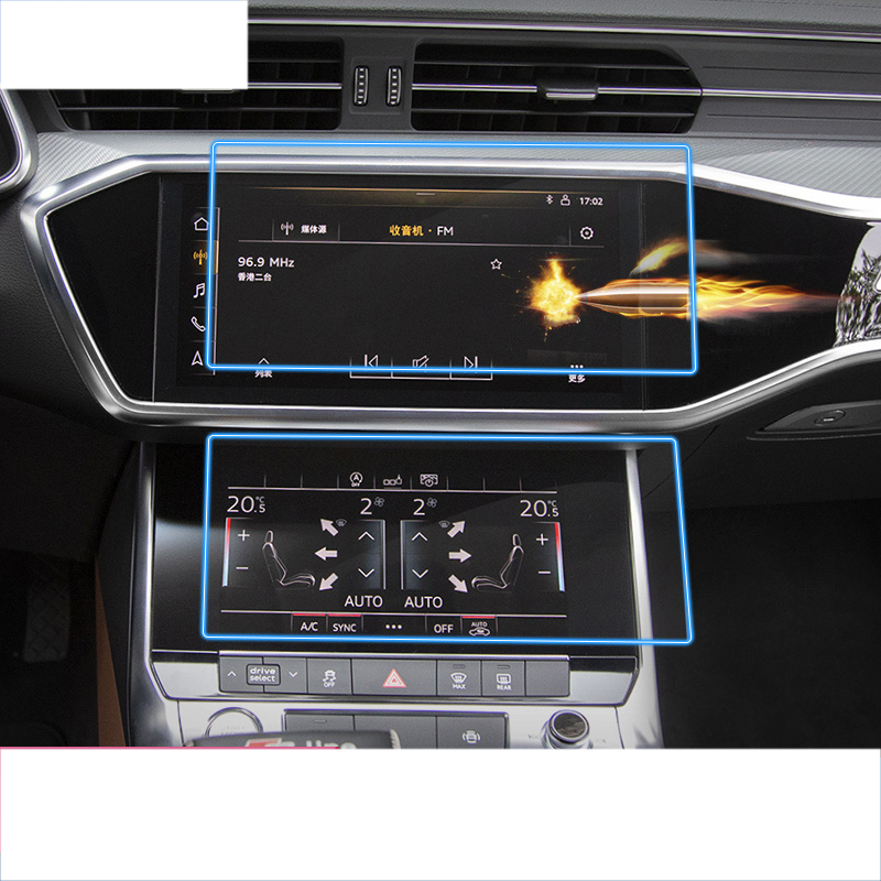 lsrtw2017 car GPS Navigation touch screen Tempered film protective sticker for audi a6 a7 2018 2019 2020 A8 anti-scratch control image