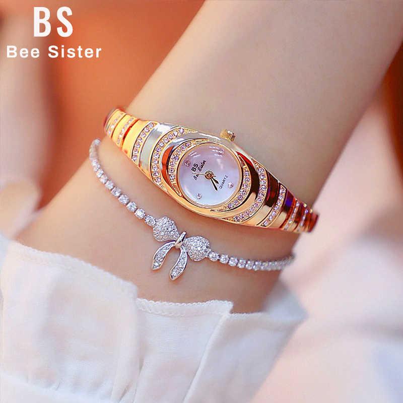 נשים שעוני יוקרה מותג שמלה מזדמן קוורץ קטן חיוג גבירותיי יד שעונים ריינסטון רוז זהב שעונים לנשים 2019