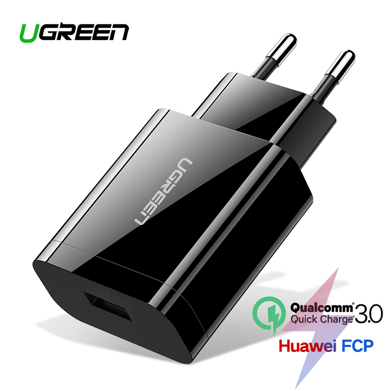 [For Qualcomm Quick Charge 3.0 2.0],Ugreen USB Charger Smart Fast Mobile Phone Charger for Samsung S7 Xiaomi 5 G5 Travel Charger 90 corner clamp shopify