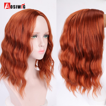 Bob Hair Synthetic-Wigs Water-Wave Women Cosplay AOSIWIG Hair-Resistant-Fiber Brown Natural