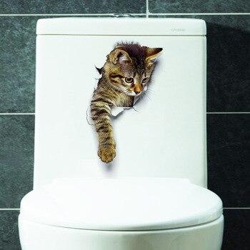 Cute 3D Kitten Combination Toilet Sticker Bedroom Living Room Decoration Waterproof Combination Sticker Wall Sticker fluffy friends kitten sticker