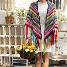 Chromatic colour Handmade Crochet granny square Tassel Scarf wraps women Big flower autumn winter scarves poncho Scarf