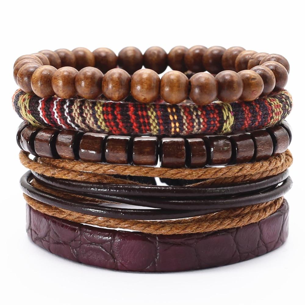 Плетеная подвеска ручной работы 5 шт./компл., мужской браслет, мужские ювелирные изделия, кожаные браслеты с бусинами для женщин