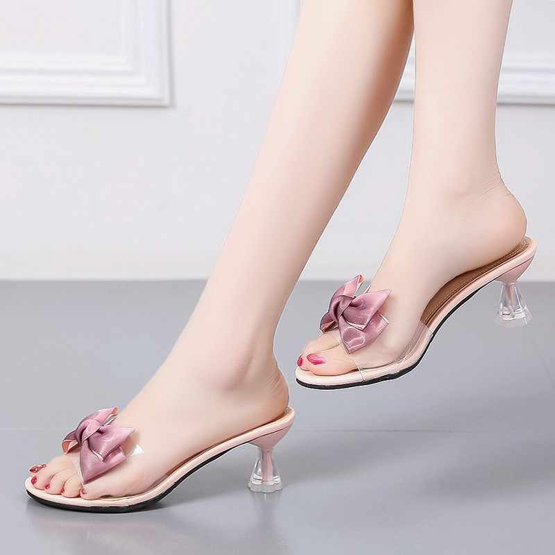 Details about  /Womens Lace Bow Knot Transparent High Heels Slippers Summer Slides Sandals Shoes