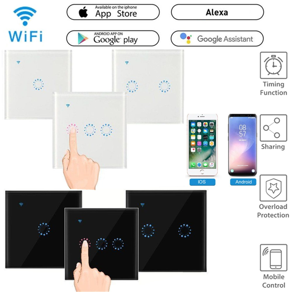 EU Plug WiFi Smart Light Switch Glass Panel Touch Switch Compatible With Alexa Google Home Smart Wall Switch Timer Function