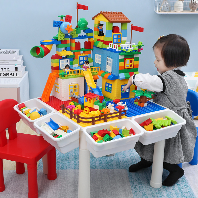 Multi function Table for Building Blocks large Grain Bottom Plate Give 89 Granules Building Blocks 176 Slide Building Blocks toy in Blocks from Toys Hobbies