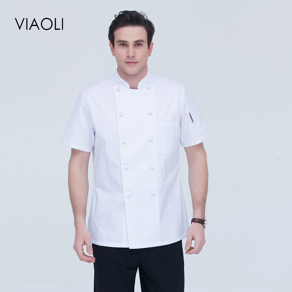 2019 New High Quality Chef Uniform Double-breasted Hotel Catering Kitchen Restaurant M-4XL Waitress Shirt White Chef Jacket Wome