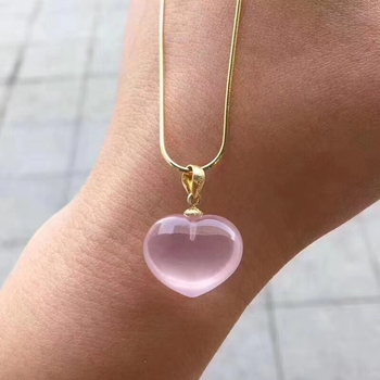 Natural Pink Rose Quartz Star Light Pendant Necklace 18x14mm For Women Men Heart Love Mozambique Gift Crystal Jewelry AAAAA fyjs unique handmade weave natural rose pink quartz pendant rope chain necklace cylinder jewelry