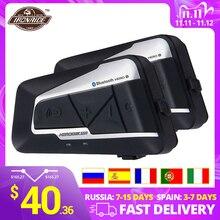 HEROBIKER Casco intercomunicador Bluetooth para motocicleta, interfono inalámbrico impermeable de moto, auriculares, walkie talkie para 2 personas, 1200M