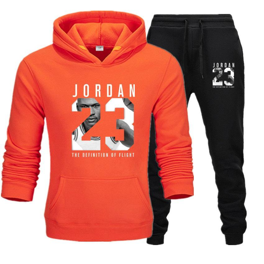 2019 Brand Tracksuit Fashion JORDAN 23 Print Men Sportswear Pullover Two Sets Leisure Fleece hoodies +Pants Sporting Suit Male  (9)