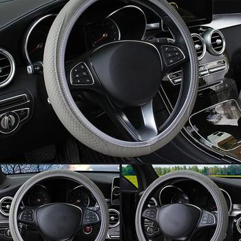 PU Leather Steering Wheel Cover 37-38cm Diameter Car Universal Steering Wheel Cover Car Handle Cover Car Accessories image