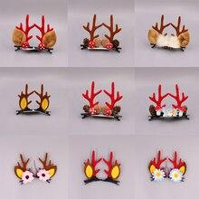 Новые милые рога оленя для волос заколки Рождество год красный оголовье Лось фон грибного леса гайка для волос аксессуары заколки для волос для детей