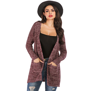 Autumn Winter Sweater Women Long Sleeve Patchwork Knitted Open Front Elegant Cardigan Women Coat sueter mujer invierno 2019 fluted sleeve open front cardigan