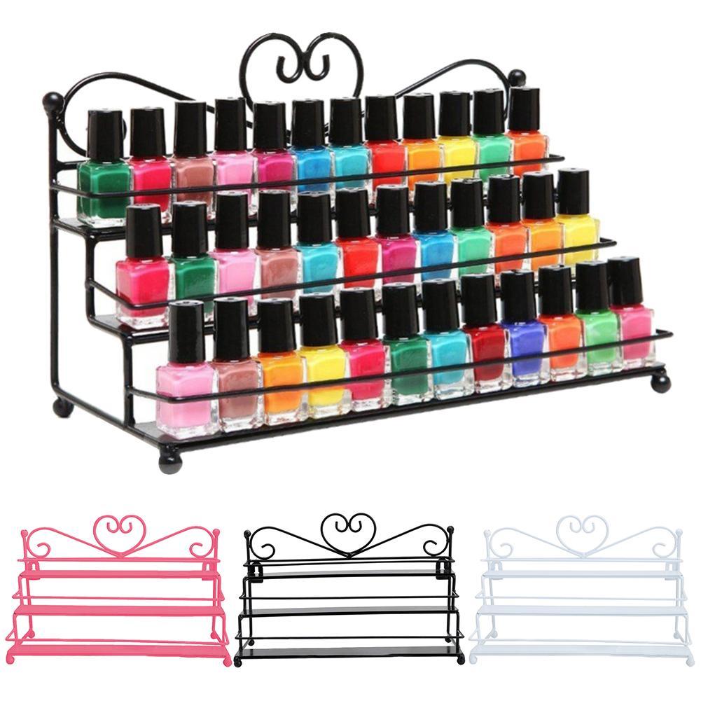 3 Layer Heart Nail Polish Shelf Cosmetic Display Stand Holder Rack Organizer Nail Art Supplies