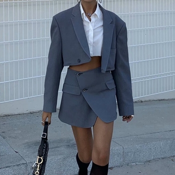 Winter women blazers and jackets elegant cropped blazer femeninowomen blazer and skirt set suit office wear corduroy blazer sexy 1