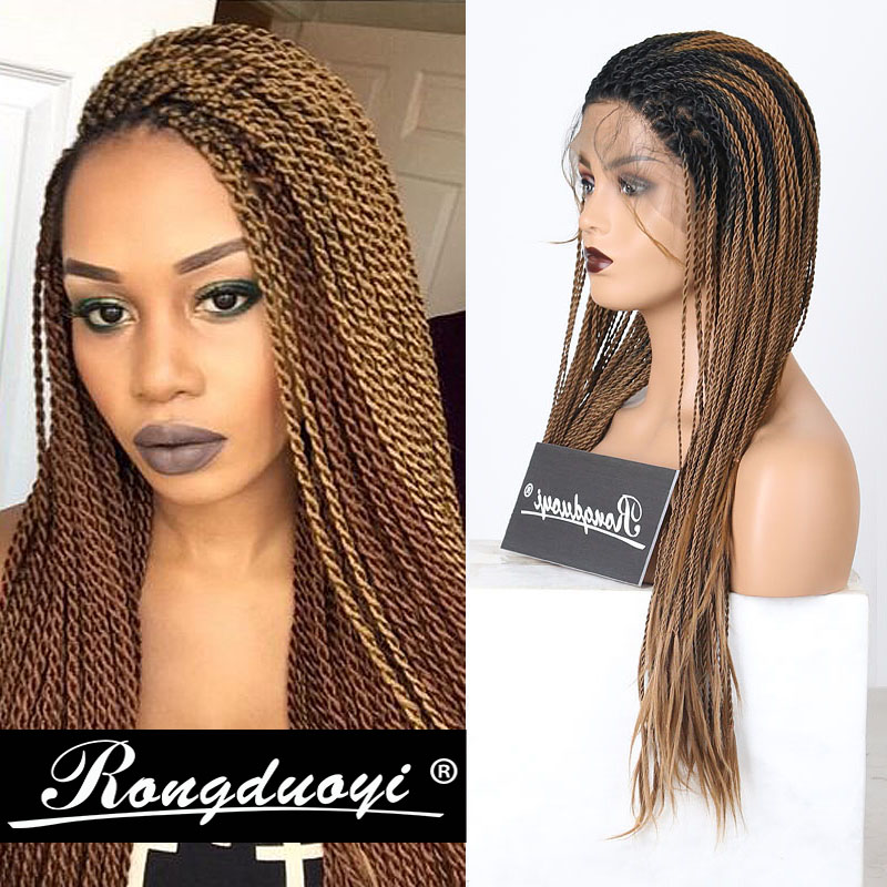 RONGDUOYI Ombre Brown Synthetic Lace Front Wig Long 2X Twist Braids Wigs For Women Two Tone Ash Blonde Cosplay Wig Free Part